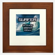 """Surfer Playing Waiter Today"" Framed Tile"