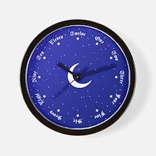 Celestial Stars & Moon Old English Wall Clock