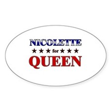 NICOLETTE for queen Oval Decal