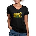 Sunflowers Women's V-Neck Dark T-Shirt