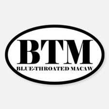 BTM Abbreviated Blue-Throated Macaw Oval Decal