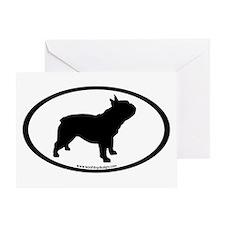French Bulldog Oval Greeting Card