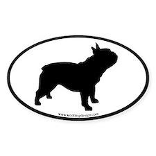 French Bulldog Oval (black border) Oval Decal