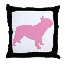 Pink French Bulldog Throw Pillow