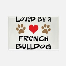 Loved By A French Bulldog Rectangle Magnet