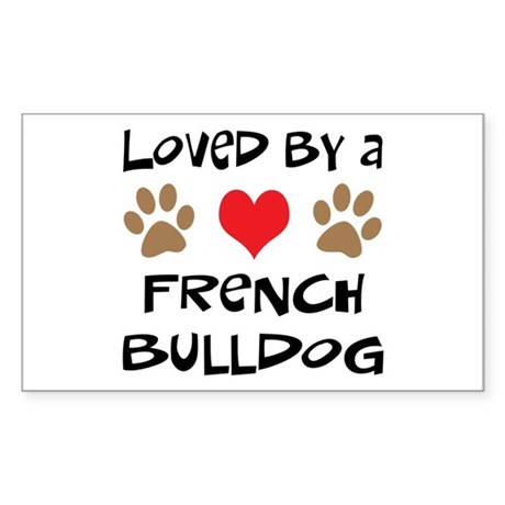 Loved By A French Bulldog Rectangle Sticker