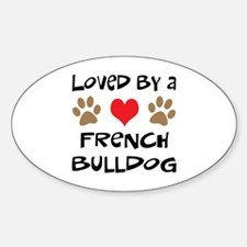 Loved By A French Bulldog Oval Decal