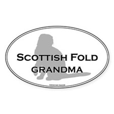 Scottish Fold Grandma Oval Decal