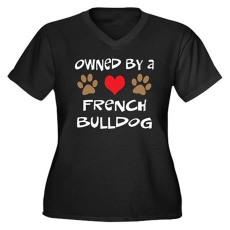 Owned By A French Bulldog Women's Plus Size V-Neck