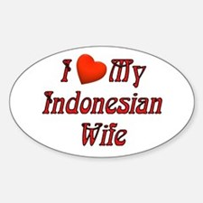 I Love My Indo Wife Oval Decal