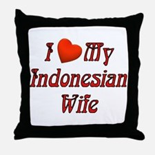I Love My Indo Wife Throw Pillow