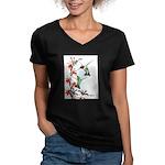 Ruby-throated Hummingbirds Women's V-Neck Dark T-S