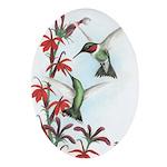 Ruby-throated Hummingbirds Oval Ornament