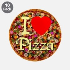 """I (Heart) Pizza 3.5"""" Button (10 pack)"""