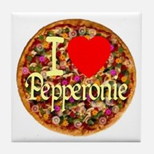 I (Heart) Pepperonie Tile Coaster