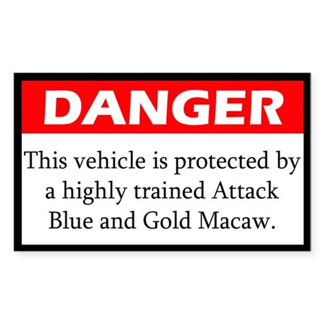 Danger Attack Blue and Gold Macaw Sticker