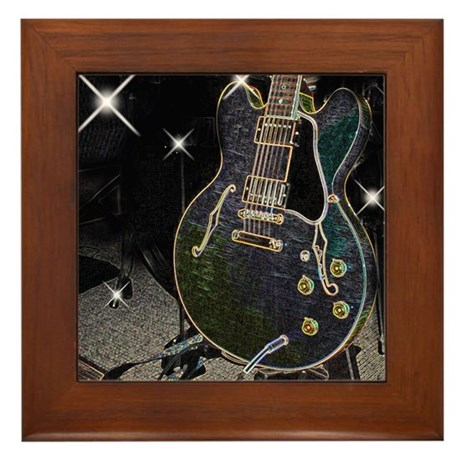 Semi Glow Guitar Framed Tile