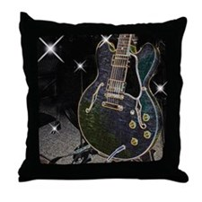Semi Glow Guitar Throw Pillow