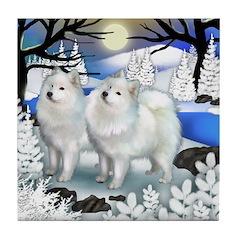 SAMOYED DOGS FROZEN RIVER Tile Coaster