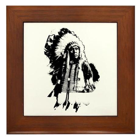 Indian Chief Framed Tile