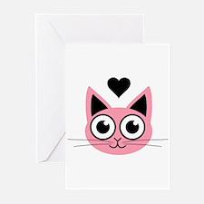 Pink Cute Cat Greeting Cards (Pk of 10)