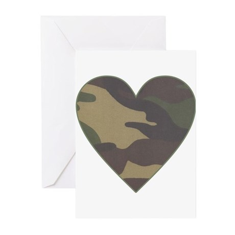 Valentine Camo Heart Greeting Cards (Pk of 10)