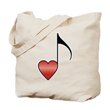 Valentine Music Note Heart Tote Bag