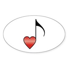 Valentine Music Note Heart Oval Decal