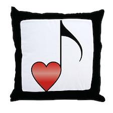 Valentine Music Note Heart Throw Pillow
