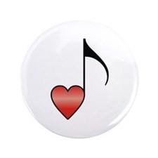"""Valentine Music Note Heart 3.5"""" Button"""