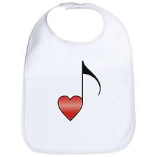 Valentine Music Note Heart Bib