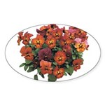 Red Pansies Oval Sticker