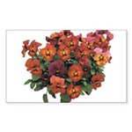 Red Pansies Rectangle Sticker