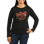 Red Pansies Women's Long Sleeve Dark T-Shirt