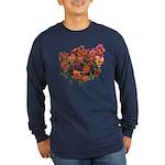 Red Pansies Long Sleeve Dark T-Shirt