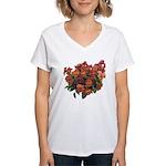 Red Pansies Women's V-Neck T-Shirt