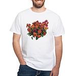 Red Pansies White T-Shirt