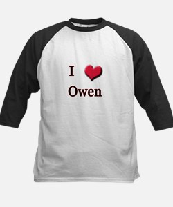 I Love (Heart) Owen Kids Baseball Jersey