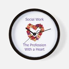 Social Work Heart Wall Clock