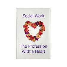 Social Work Heart Rectangle Magnet