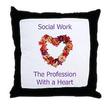 Social Work Heart Throw Pillow