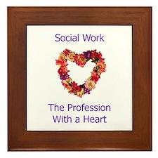 Social Work Heart Framed Tile