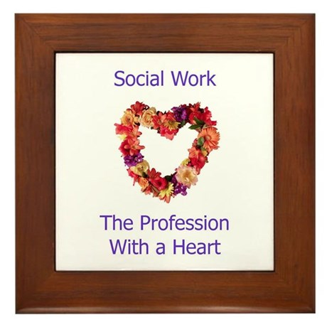 Social Work Heart Framed Tile