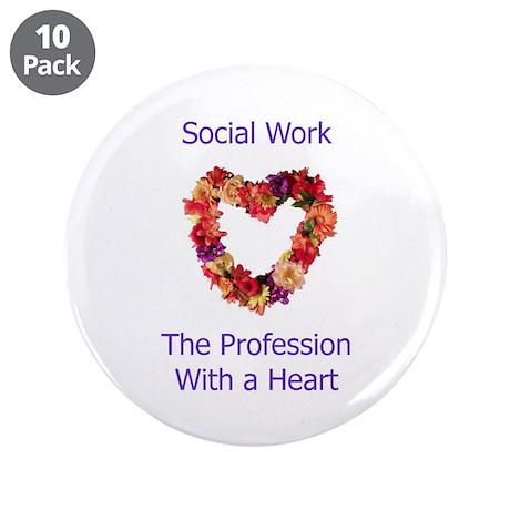 """Social Work Heart 3.5"""" Button (10 pack)"""