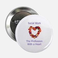 """Social Work Heart 2.25"""" Button"""