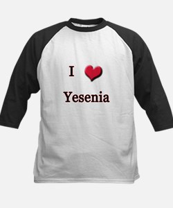 I Love (Heart) Yensenia Kids Baseball Jersey
