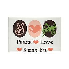 Peace Love Grasshopper Kung Fu Rectangle Magnet