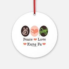 Peace Love Grasshopper Kung Fu Ornament (Round)