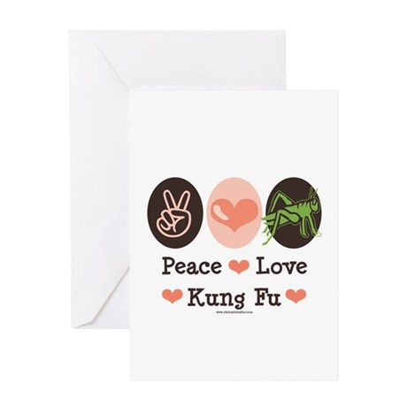 Peace Love Grasshopper Kung Fu Greeting Card