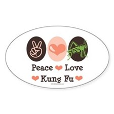 Peace Love Grasshopper Kung Fu Oval Decal